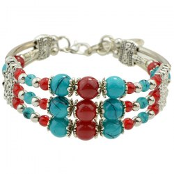 Vintage Fake Gemstone Beads Layered Strand Bracelet - BLUE AND RED