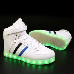 High Top Flocking Led Luminous Shoes - WHITE