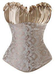 Paisley Pattern Ruched Lace Up Corset - KHAKI