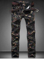 Zip Fly Straight Leg Printed Jeans - BLACK
