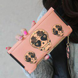 Rivet Skulls Print Clutch Wallet