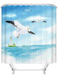 Sea Gull Print Mildewproof Waterproof  Bath Shower Curtain - LIGHT BLUE 200CM*200CM