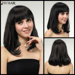 Neat Bang Glossy Straight Medium Tail Adduction Siv Human Hair Wig -