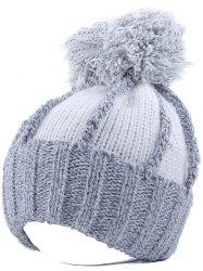 Striped Pom Ball Flocking Beanie - WHITE