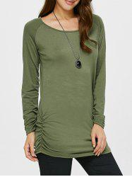 Ruched Long Sleeves Tunic T-Shirt -