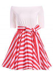 Striped Belted Off The Shoulder Vintage Dress -