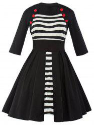 Vintage Striped Panel Swing Dress