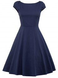 A Line Puffer Cap Sleep Plain Prom Dress -