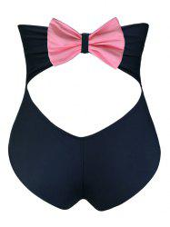 Cut Out Bowknot Vintage Cheeky High Waist Bikini Bottom Shorts - BLACK M