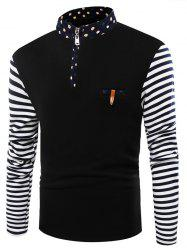 Pocket Striped Flocking Stand Collar Half Zip T-Shirt