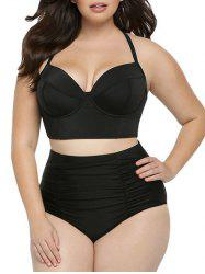 Halter High Rise Plus Size Push Up Bustier Bikini Set - BLACK