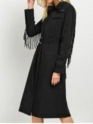 Long Sleeve Fringed A Line Midi Shirt Dress - BLACK