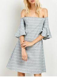 Cut Out Back Off Striped The Shoulder Dress