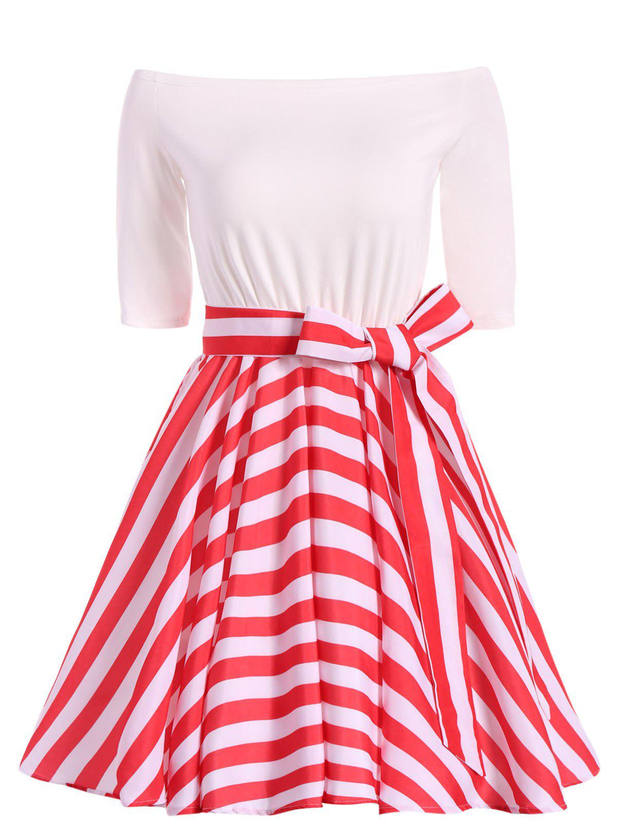 Affordable Striped Belted Off The Shoulder Vintage Dress