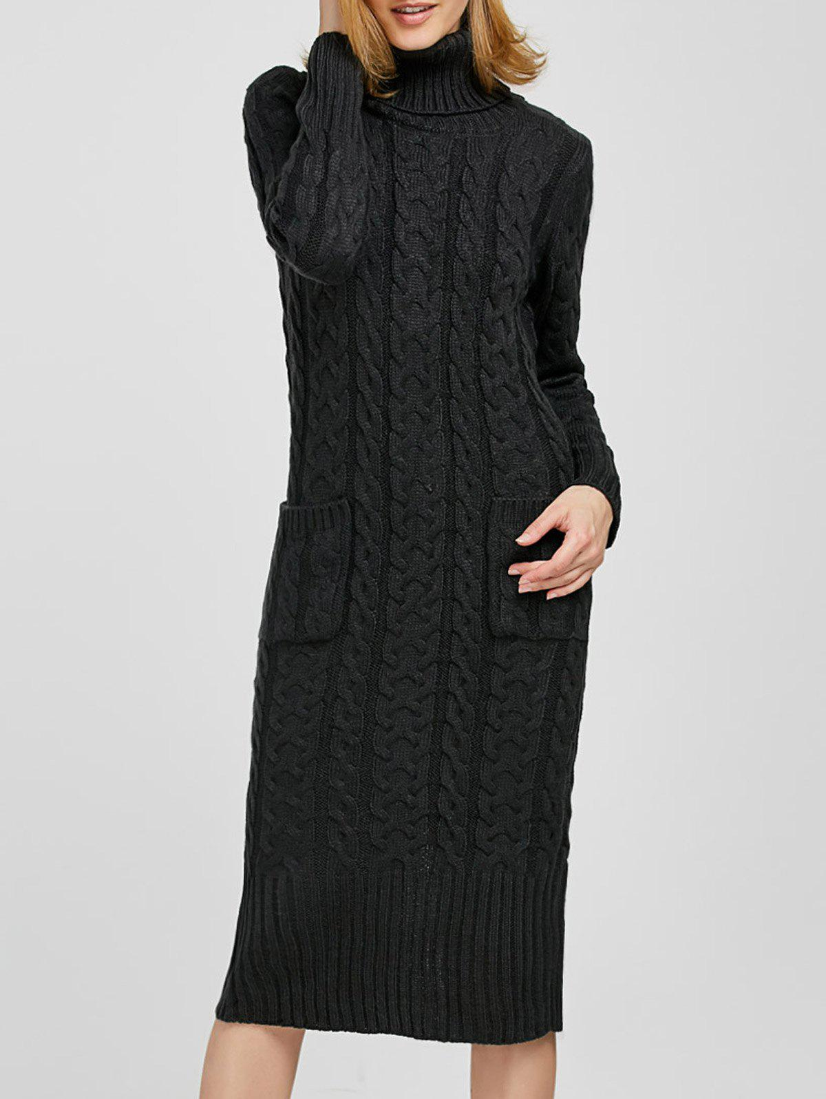 85af50a7eeca2 2019 Turtleneck Maxi Long Sleeve Cable Knit Sweater Dress