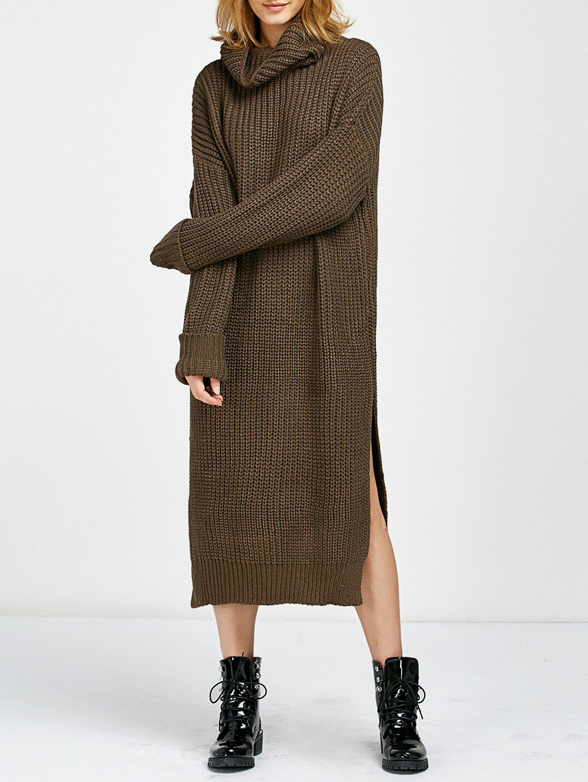 Cowl Neck Slit Midi Sweater Jumper DressWOMEN<br><br>Size: ONE SIZE; Color: BROWN; Style: Casual; Material: Cotton,Polyester; Silhouette: Straight; Dresses Length: Mid-Calf; Neckline: Cowl Neck; Sleeve Length: Long Sleeves; Pattern Type: Solid; Elasticity: Elastic; With Belt: No; Season: Fall,Winter; Weight: 0.6700kg; Package Contents: 1x Dress;