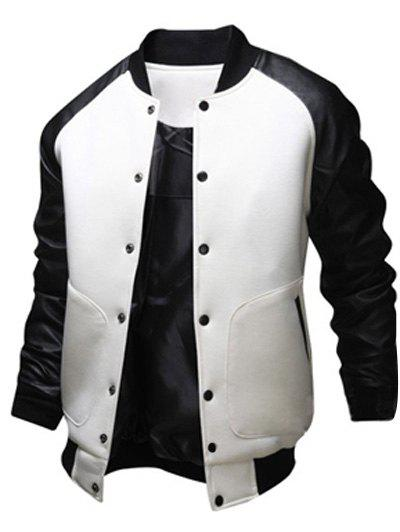 Best Snap Button Up PU Leather Insert Raglan Sleeve Jacket