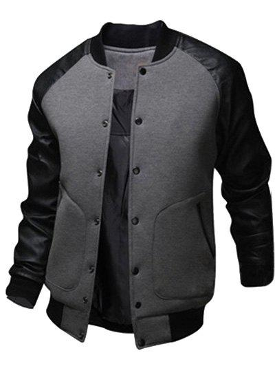 Fashion Snap Button Up PU Leather Insert Raglan Sleeve Jacket