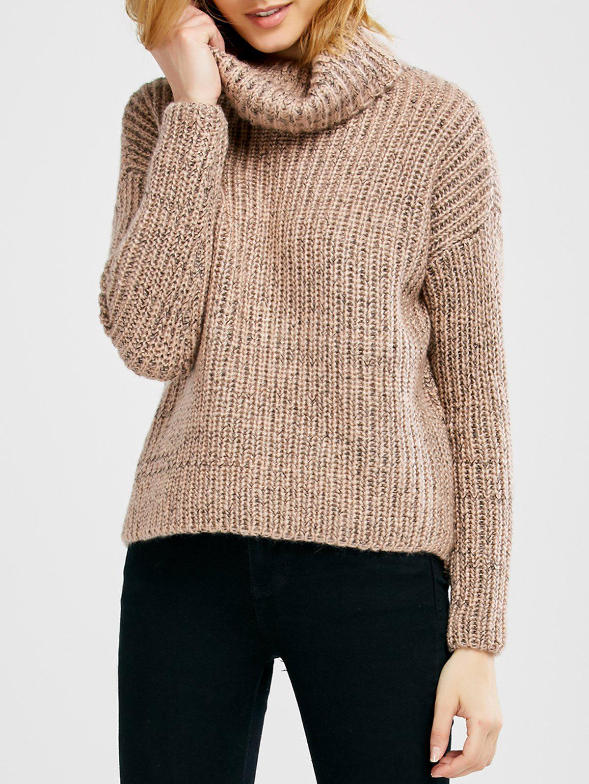 Fashion Turtle Neck Heathered Pullover Sweater