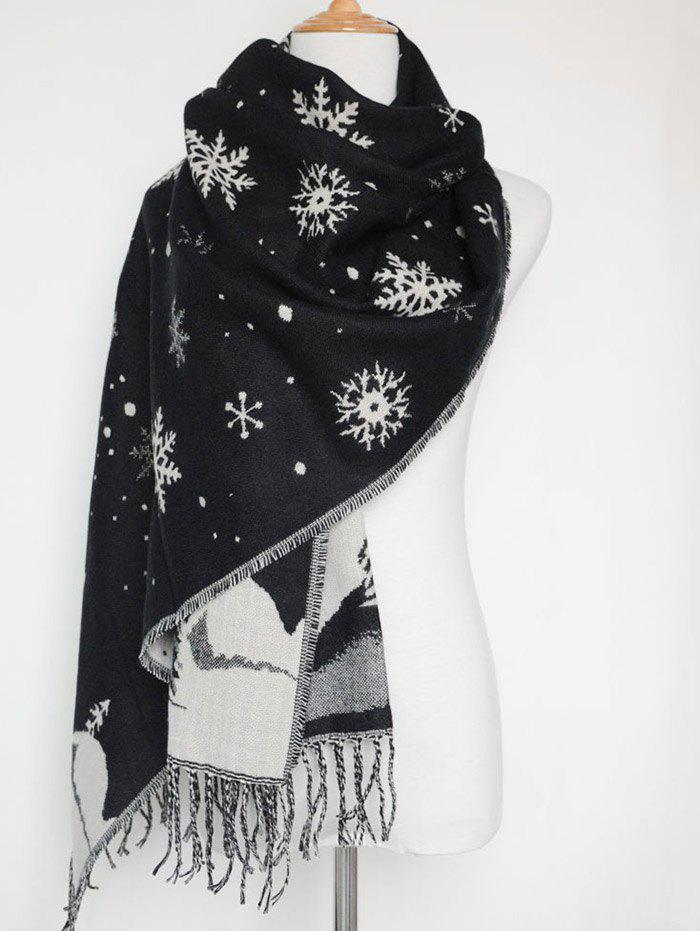 Christmas Snow Covered Landscape Tassel Warm ScarfACCESSORIES<br><br>Color: BLACK; Scarf Type: Scarf; Group: Adult; Gender: For Women; Style: Fashion; Material: Acrylic; Season: Fall,Spring,Winter; Scarf Length: 176CM+Tassel Length:11CM; Scarf Width (CM): 69CM; Weight: 0.300kg; Package Contents: 1 x Scarf;