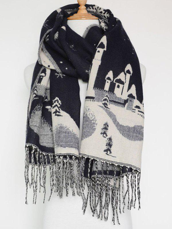Sale Christmas Snow Covered Landscape Tassel Warm Scarf