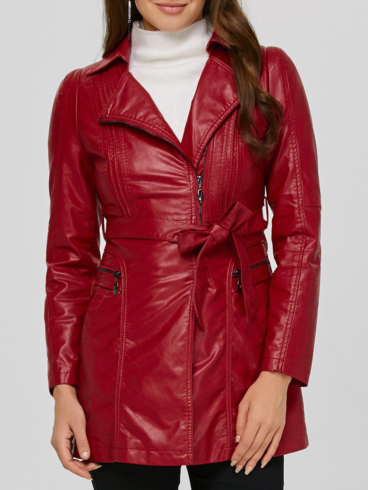 Cheap Asymmetrical Belted Faux Leather Jacket