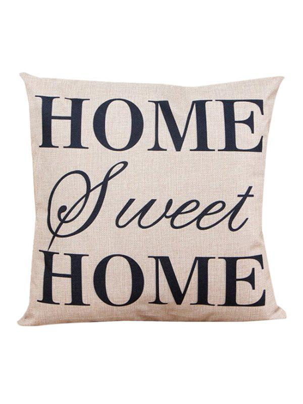 Letter Home Sweet Sofa Cushion Linen PillowcaseHOME<br><br>Color: BEIGE; Material: Linen; Pattern: Printed; Style: Modern/Contemporary; Shape: Square; Size(CM): 45*45; Weight: 0.110kg; Package Contents: 1 x Pillow Case;
