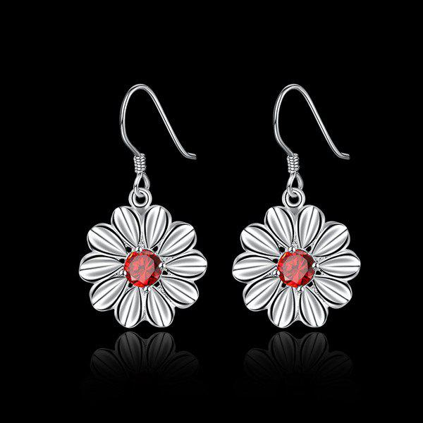 Artificial Ruby Flower EarringsJEWELRY<br><br>Color: SILVER; Earring Type: Drop Earrings; Gender: For Women; Style: Trendy; Shape/Pattern: Floral; Length: 3.2CM; Weight: 0.030kg; Package Contents: 1 x Earring (Pair);