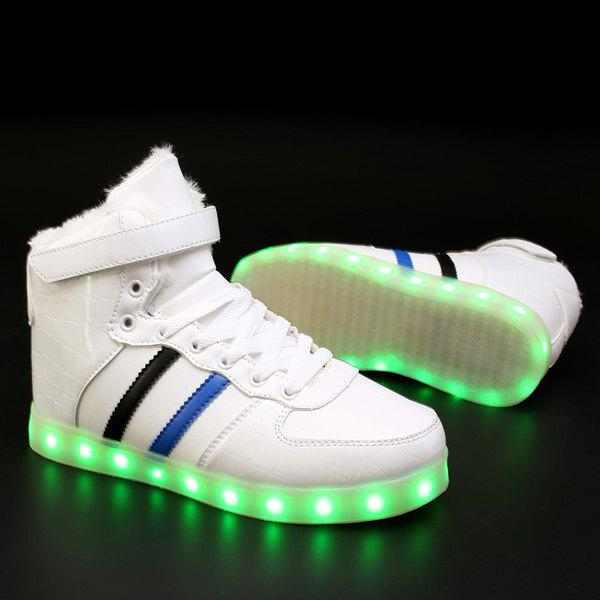 New High Top Flocking Led Luminous Shoes