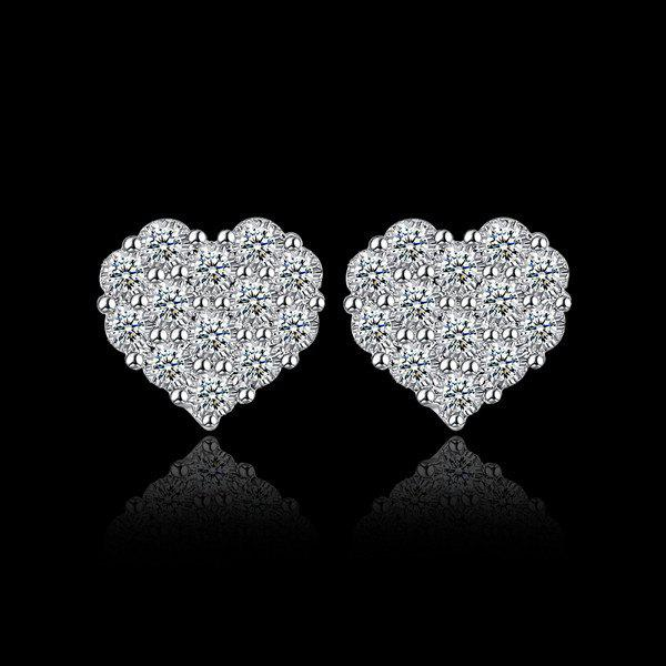 Rhinestoned Heart Stud EarringsJEWELRY<br><br>Color: SILVER; Earring Type: Stud Earrings; Gender: For Women; Style: Trendy; Shape/Pattern: Heart; Length: 1.3CM; Weight: 0.020kg; Package Contents: 1 x Earring (Pair);