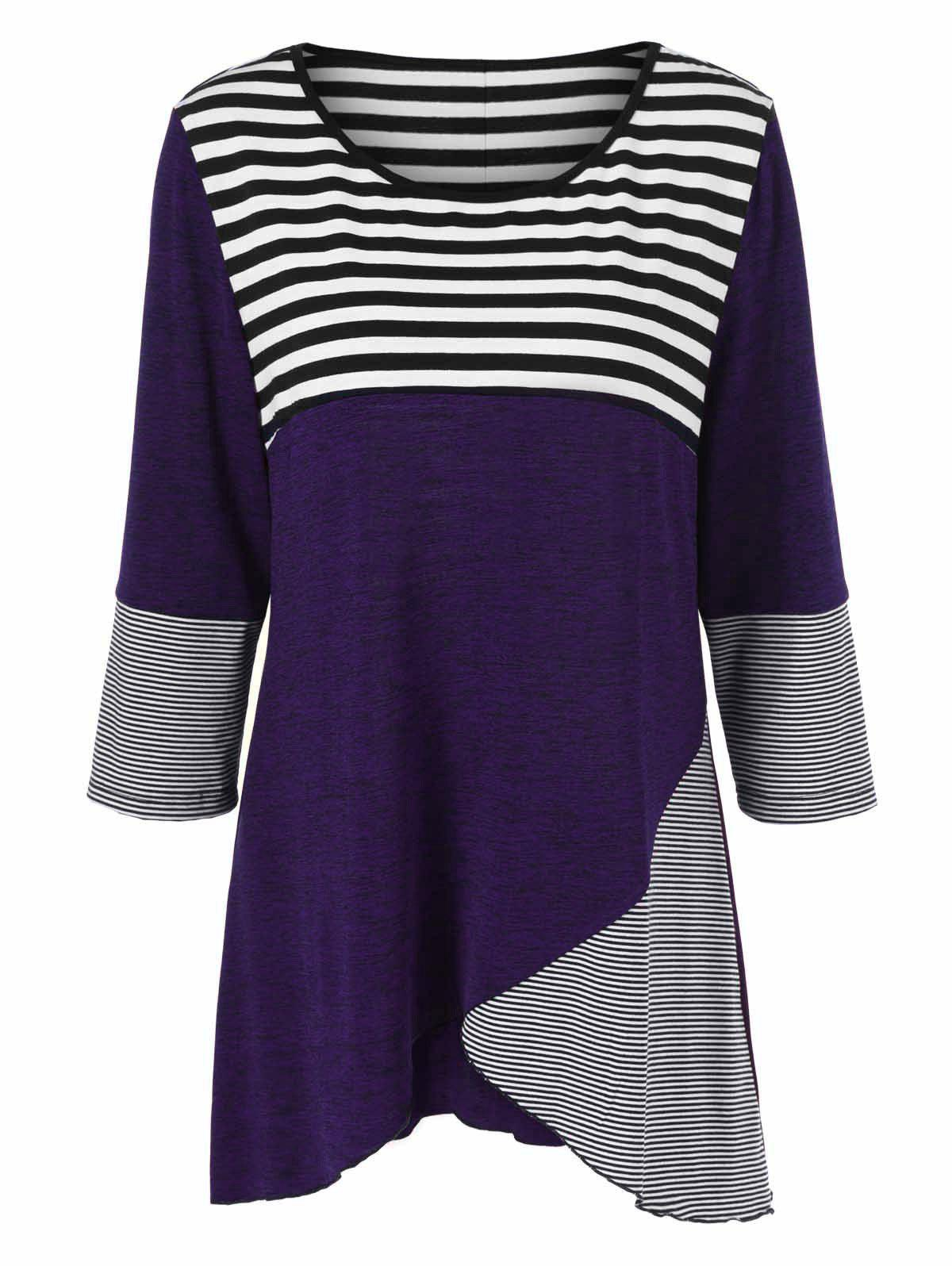 Plus Size Striped Tunic T-ShirtWOMEN<br><br>Size: 2XL; Color: CONCORD; Material: Polyester,Spandex; Shirt Length: Long; Sleeve Length: Three Quarter; Collar: Scoop Neck; Style: Casual; Season: Fall,Spring; Pattern Type: Striped; Weight: 0.3800kg; Package Contents: 1 x T-Shirt;