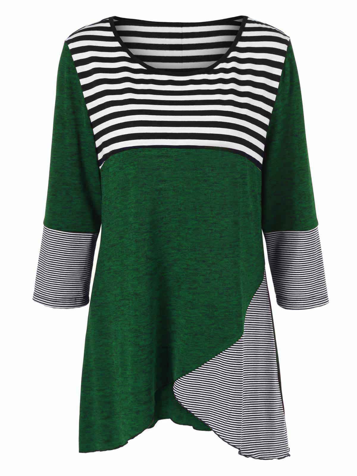Plus Size Striped Tunic T-ShirtWOMEN<br><br>Size: 3XL; Color: GREEN; Material: Polyester,Spandex; Shirt Length: Long; Sleeve Length: Three Quarter; Collar: Scoop Neck; Style: Casual; Season: Fall,Spring; Pattern Type: Striped; Weight: 0.3800kg; Package Contents: 1 x T-Shirt;