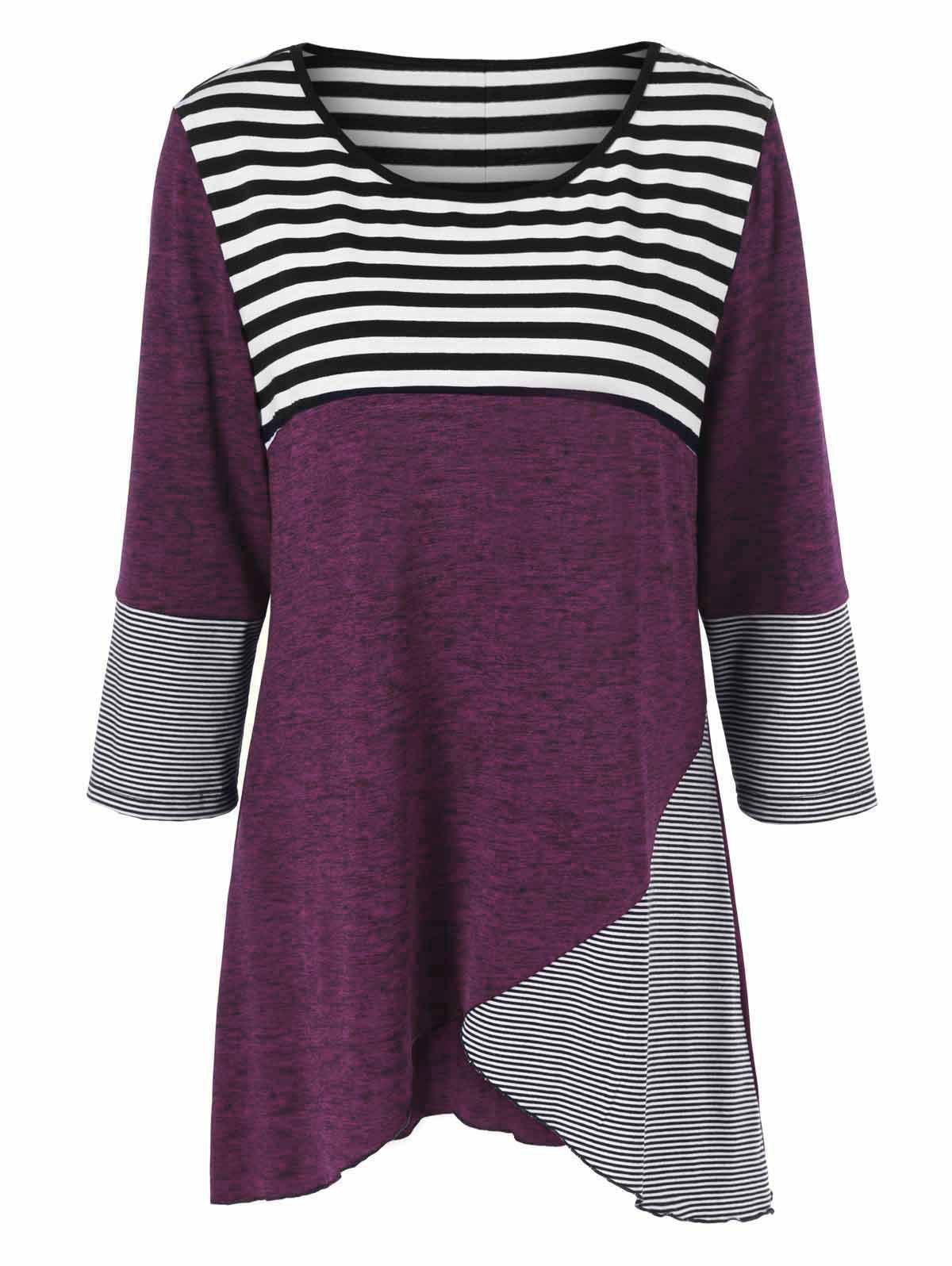 Plus Size Striped Tunic T-ShirtWOMEN<br><br>Size: 2XL; Color: PURPLISH RED; Material: Polyester,Spandex; Shirt Length: Long; Sleeve Length: Three Quarter; Collar: Scoop Neck; Style: Casual; Season: Fall,Spring; Pattern Type: Striped; Weight: 0.3800kg; Package Contents: 1 x T-Shirt;