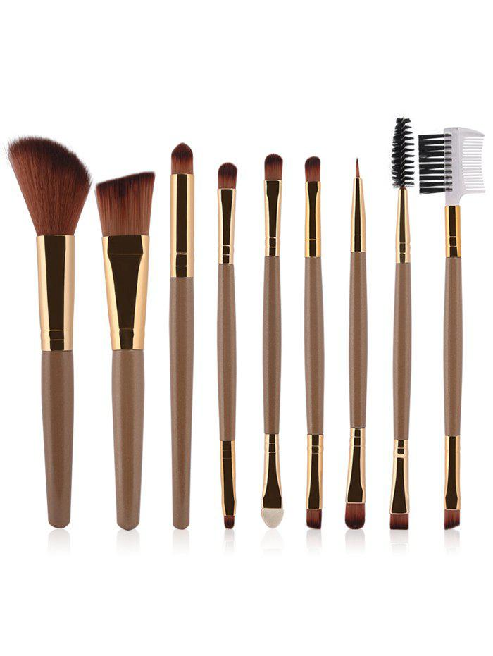 9 Pcs Multifunction Facial Makeup Brushes SetBEAUTY<br><br>Color: CHAMPAGNE GOLD; Category: Makeup Brushes Set; Brush Hair Material: Synthetic Hair; Features: Travel; Season: Fall,Spring,Summer,Winter; Weight: 0.150kg; Package Contents: 9 x Brushes (Pcs);