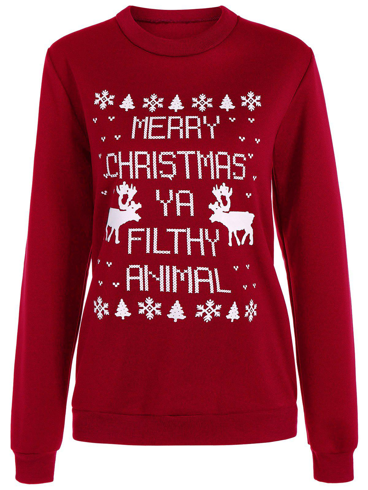 Latest Crew Neck Letter Elk Christmas Sweatshirt