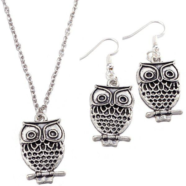 Owl Pendant Necklace and EarringsJEWELRY<br><br>Color: SILVER; Item Type: Pendant Necklace; Gender: For Women; Style: Trendy; Shape/Pattern: Animal; Length: 47CM (Necklace)/ 3CM (Earring); Weight: 0.050kg; Package Contents: 1 x Necklace 1 x Earring (Pair);