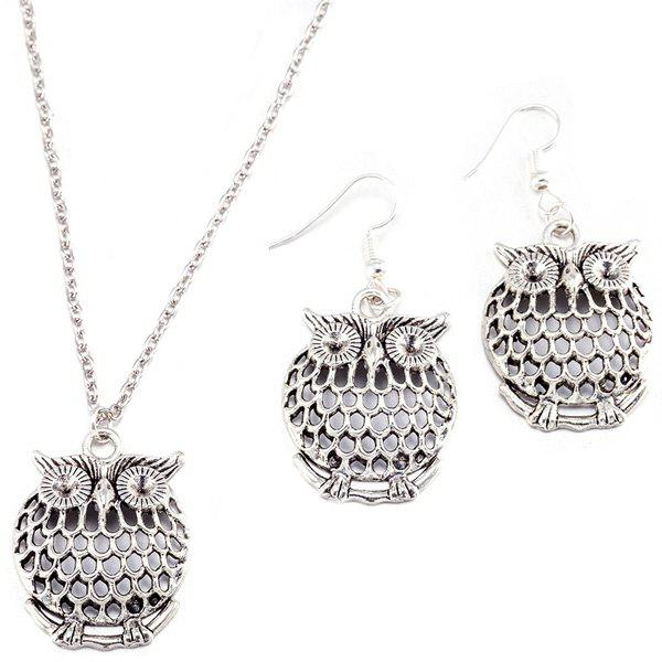Owl Necklace and Drop EarringsJEWELRY<br><br>Color: SILVER; Item Type: Pendant Necklace; Gender: For Women; Style: Trendy; Shape/Pattern: Animal; Length: 46CM (Necklace)/ 3.5CM (Earring); Weight: 0.050kg; Package Contents: 1 x Necklace 1 x Earring (Pair);