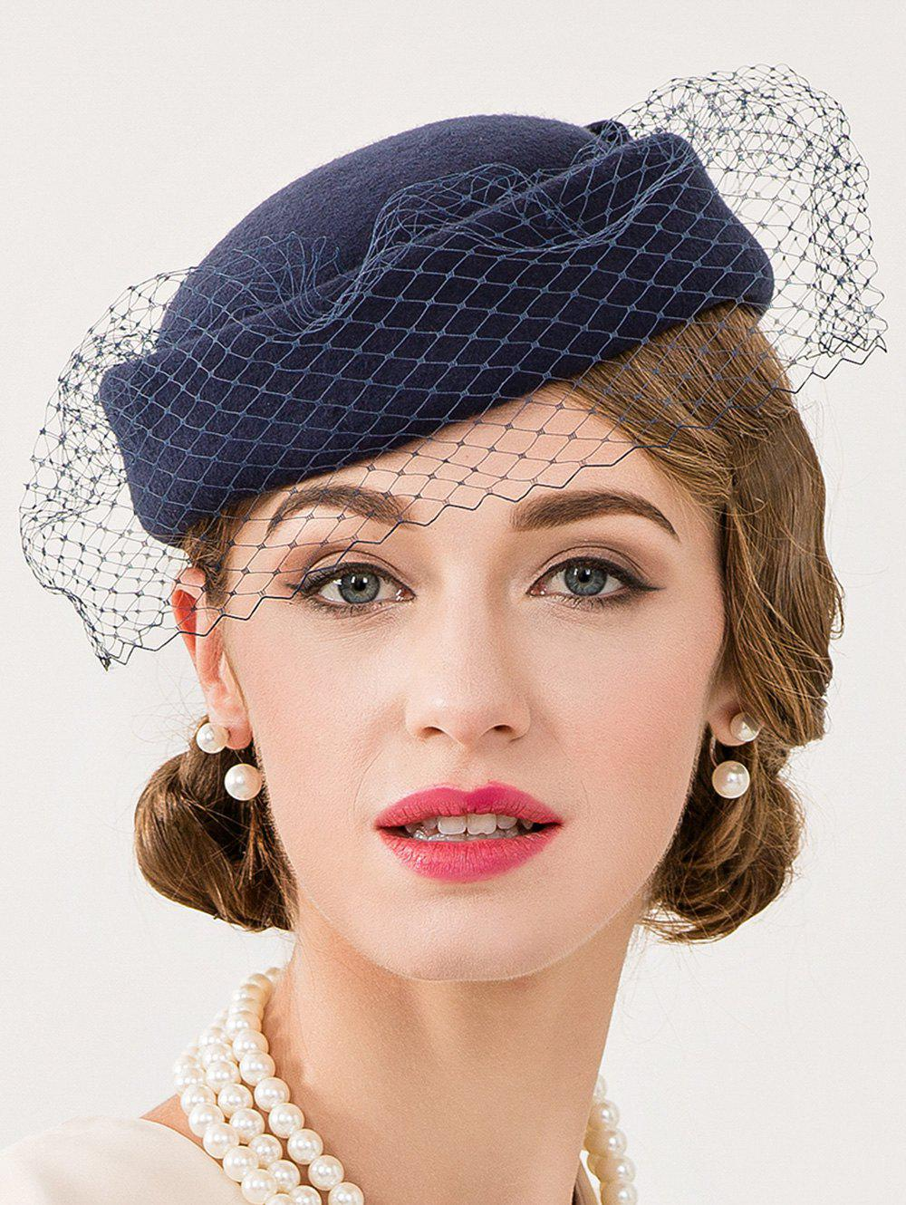 Cocktail Party Bowknot Veil Felt Pillbox HatACCESSORIES<br><br>Color: DEEP BLUE; Hat Type: Fedoras; Group: Adult; Gender: For Women; Style: Formal; Pattern Type: Solid; Material: Wool; Circumference (CM): 53CM-57CM; Weight: 1.411kg; Package Contents: 1 x Hat;