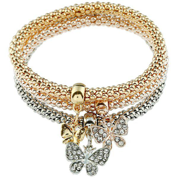 3PCS Rhinestone Butterfly Charm BraceletsJEWELRY<br><br>Color: COLORMIX; Item Type: Charm Bracelet; Gender: For Women; Chain Type: Others; Style: Trendy; Shape/Pattern: Insect; Weight: 0.060kg; Package Contents: 1 x Bracelet (Suit);