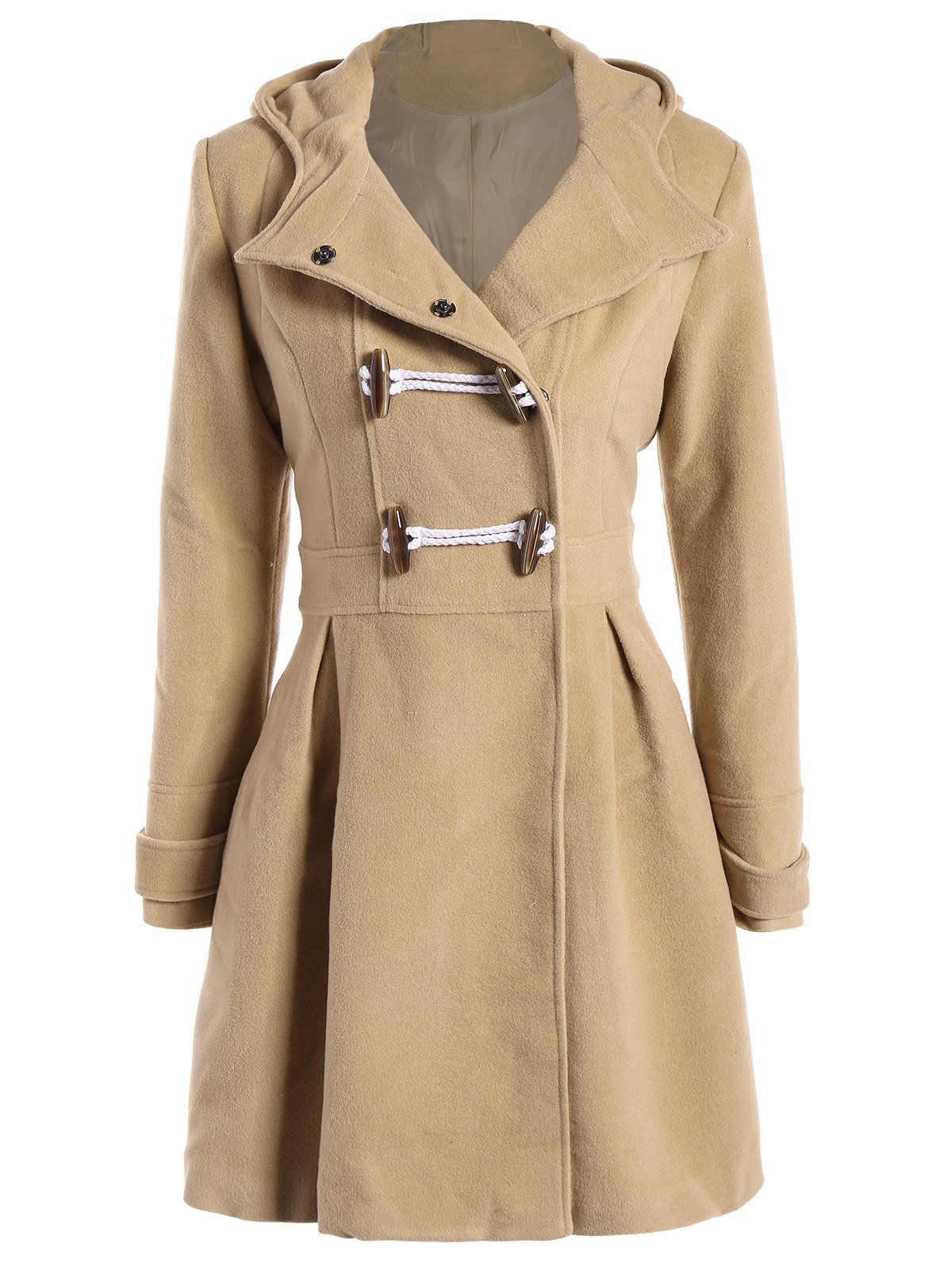 Latest Skirted Hooded Long Wrap Duffle Coat