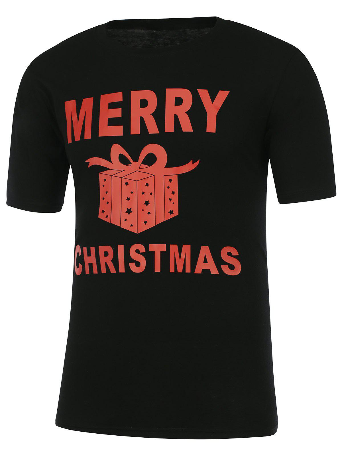 Gift Box Print Short Sleeve Christmas T-ShirtMEN<br><br>Size: XL; Color: BLACK; Style: Casual; Material: Polyester; Sleeve Length: Short; Collar: Round Neck; Embellishment: Pattern; Pattern Type: Letter; Weight: 0.252kg; Package Contents: 1 x T-Shirt;