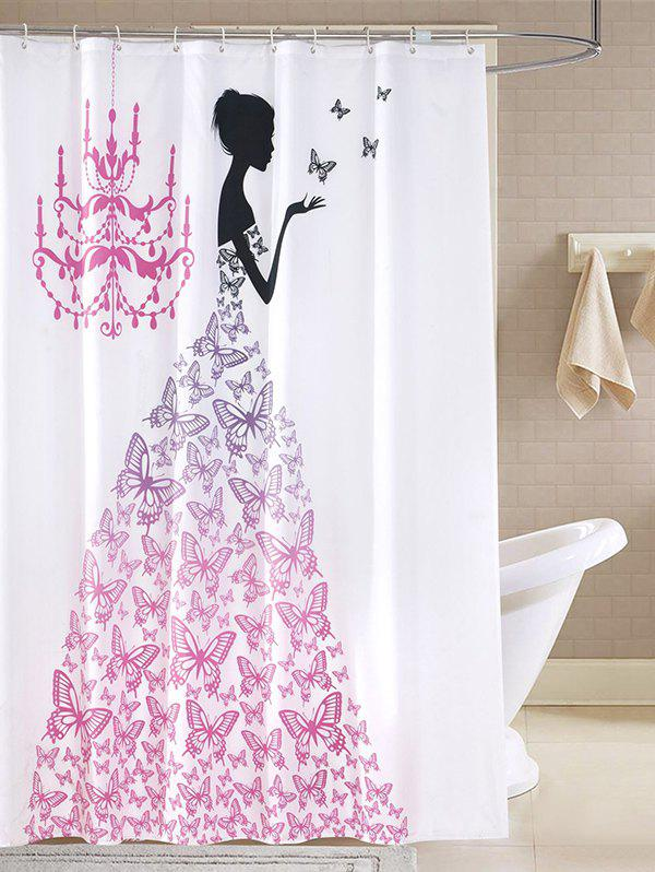 Bathroom Butterfly Fairy Waterproof Shower CurtainHOME<br><br>Size: 200CM*200CM; Color: WHITE; Type: Shower Curtains; Material: Polyester; Size(L*W)(CM): 200*200; Weight: 0.540kg; Package Contents: 1 x Shower Curtain;