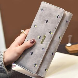 Snap Closure Embroidery Long Wallet - Light Gray