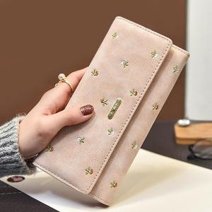 Snap Closure Embroidery Long Wallet - Apricot