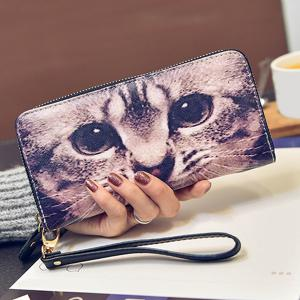 Zip Around Kitten Print Wristlet Wallet -