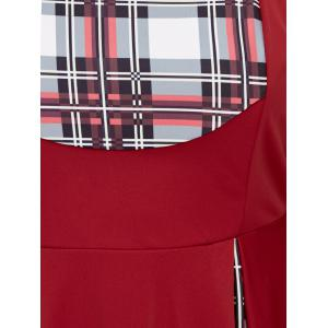 Plus Size Sweetheart Neck Checked Pin Up Dress -