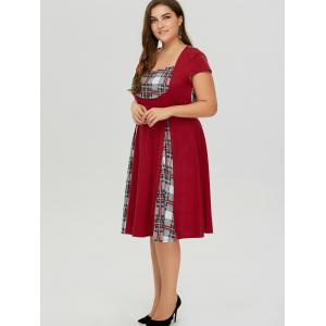Plus Size Sweetheart Neck Checked Pin Up Dress - WINE RED 5XL
