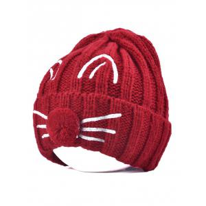 Pom Ball Cat Face Beanie Hat - Wine Red
