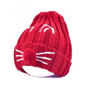 Pom Ball Cat Face Beanie Hat - Red