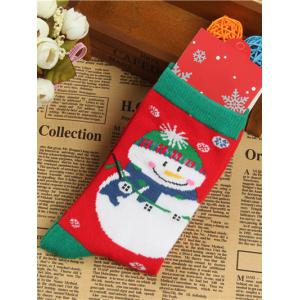 Pair of Knitted Snowmen Christmas Jacquard Socks